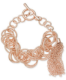 I.N.C. Rose Gold-Tone Multi-Ring Tassel Toggle Bracelet, Created for Macy's