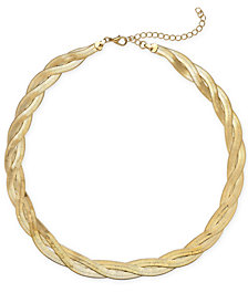 "Thalia Sodi Gold-Tone Gold-Tone Braided Herringbone Collar Necklace, 17"" + 3"" extender, Created for Macy's"