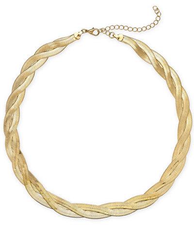 Thalia Sodi Gold-Tone Gold-Tone Braided Herringbone Collar Necklace, 17