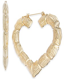 "Gold-Tone Bamboo Heart Extra Large 2.5"" Large Hoop Earrings , Created for Macy's"