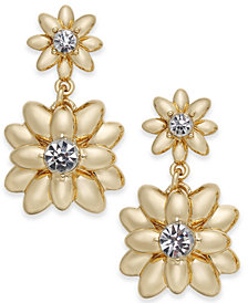 Charter Club Gold-Tone Crystal & Imitation Pearl Flower Drop Earrings, Created for Macy's