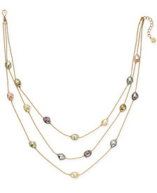 "Charter Club Gold-Tone Imitation Pearl Triple-Row Necklace, 20"" + 2"" extender, Created for Macy's"