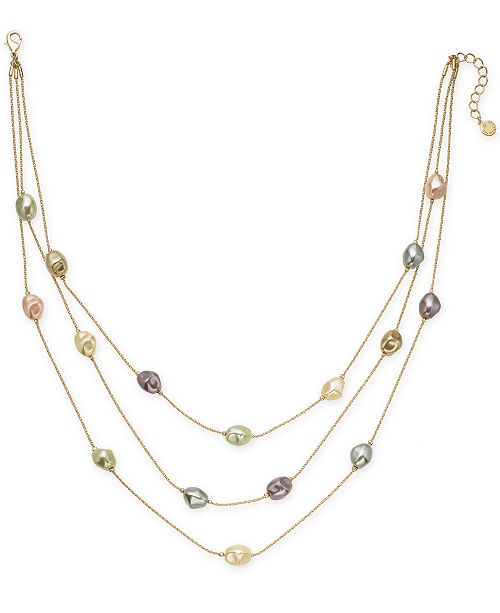 """Charter Club Gold-Tone Imitation Pearl Triple-Row Necklace, 20"""" + 2"""" extender, Created for Macy's"""
