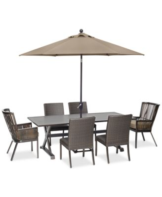 Savannah Outdoor 7-Pc. Dining Set (84  x 42  Rectangle Dining Table 2 Captain Dining Chairs u0026 4 Armless Dining Chairs) with Sunbrella® Cushions ...  sc 1 st  Macyu0027s & Furniture CLOSEOUT! Savannah Outdoor Dining Collection with ...