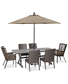 "CLOSEOUT! Savannah Outdoor 7-Pc. Dining Set (84"" x 42"" Rectangle Dining Table, 2 Captain Dining Chairs & 4 Armless Dining Chairs) with Sunbrella® Cushions, Created for Macy's"