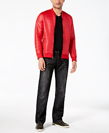 I.N.C. Men's Faux-Leather Jacquard Jacket, Pieced T-Shirt & Slim-Straight Fit Stretch Jeans, Created for Macy's