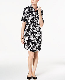Karen Scott Cotton Printed Shirtdress, Created for Macy's
