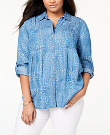 Style & Co Plus Size Daisy Patch Printed Pleated Shirt, Created for Macy's
