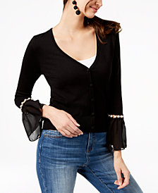 I.N.C. Petite Embellished Bell-Sleeve Cardigan, Created for Macy's