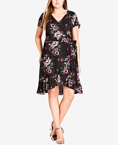 City Chic Trendy Plus Size Printed Wrap Dress