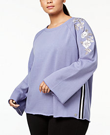Calvin Klein Performance Plus Size Embroidered Raglan-Sleeve Top