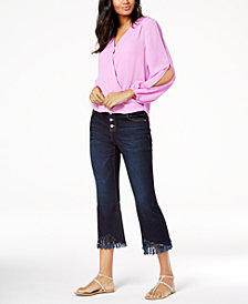 I.N.C. Surplice Top & Fringe-Trim Jeans, Created for Macy's