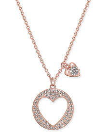 "Danori Pavé Heart Pendant Necklace, 16"" + 2"" extender, Created for Macy's"