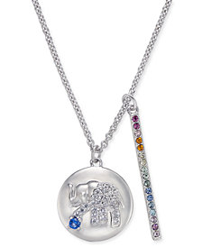 "Danori Silver-Tone Elephant Pavé Disc & Horizontal Bar Pendant Necklace, 16"" + 2"" extender, Created for Macy's"
