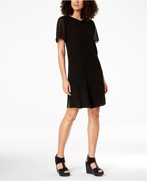 Eileen Fisher Silk Chiffon-Sleeve Shift Dress