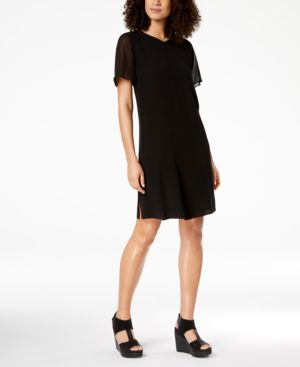 Eileen Fisher Silk Chiffon-Sleeve Shift Dress 6126017