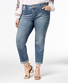 INC Petite Plus Tummy Control Zenith Boyfriend Jeans, Created for Macy's