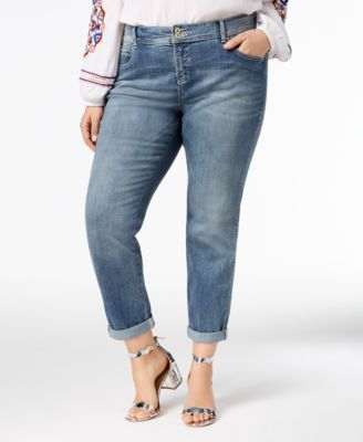 I.N.C. Plus Size and Petite Plus Tummy Control Zenith Boyfriend Jeans Created for Macys