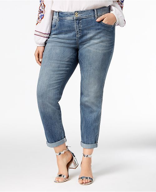 INC International Concepts I.N.C. Plus Size and Petite Plus Tummy Control Zenith Boyfriend Jeans, Created for Macy's
