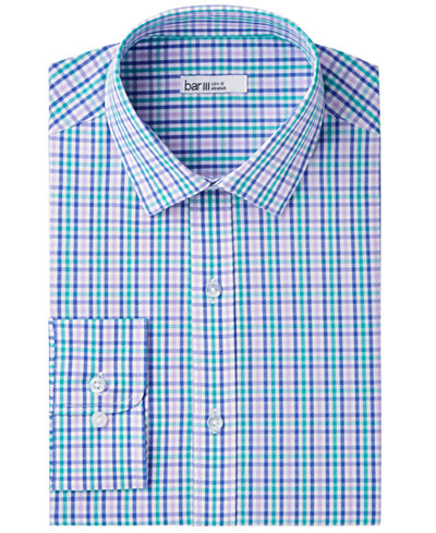 Bar III Men's Slim-Fit Stretch Easy-Care Multi-Dobby Gingham Dress Shirt, Created for Macy's