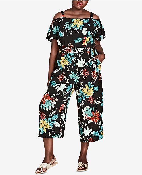 bfdbe46effd City Chic Trendy Plus Size Cold-Shoulder Jumpsuit   Reviews - Pants ...