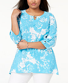 JM Collection Plus Size Embellished Crinkle Top, Created for Macy's