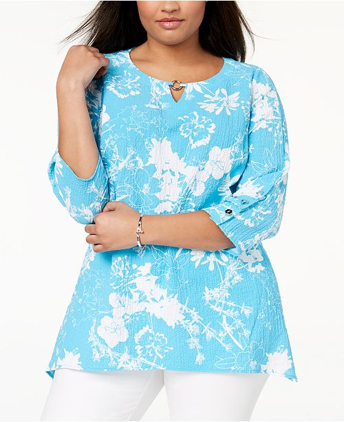 64d9f688d7a55e JM Collection. Plus Size Embellished Crinkle Top, Created for Macy's. 2  reviews. main image; main image ...