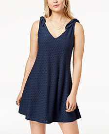 Trixxi Juniors' Knot-Shoulder Textured Fit & Flare Dress