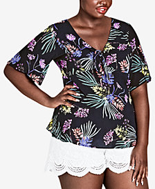 City Chic Trendy Plus Size Floral-Print Top