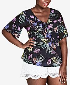 City Chic Trendy Plus Size Floral-Print Top
