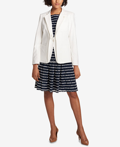 Tommy Hilfiger Double-Lapel Blazer, Striped-Lace Shell & Pleated Skirt