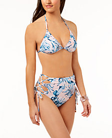 Bar III Tropic Garden Triangle Bikini Top & High-Waist Lace-Up Bottoms, Created for Macy's