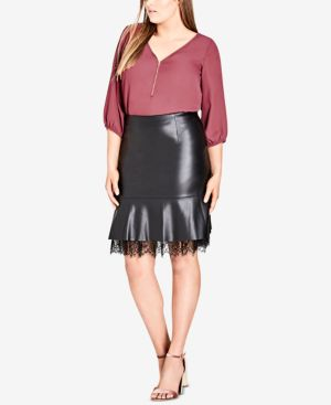 Trendy Plus Size Faux-Leather Peplum Skirt, Black