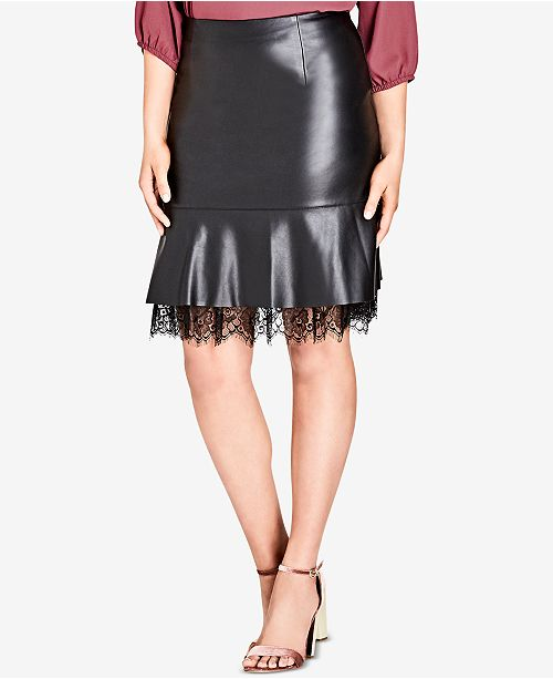 c64067df90b7d City Chic Trendy Plus Size Faux-Leather Peplum Skirt   Reviews ...