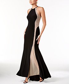 Xscape Caviar-Beaded Illusion Gown