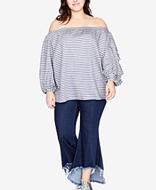 RACHEL Rachel Roy Trendy Plus Size Frayed-Hem Flared Jeans