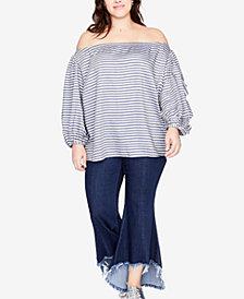 RACHEL Rachel Roy Trendy Plus Size Frayed-Hem Flared Jeans