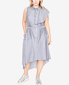 RACHEL Rachel Roy Trendy Plus Size High-Low Shirtdress