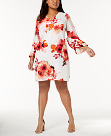 Calvin Klein Plus Size Floral-Print Bell-Sleeve Dress