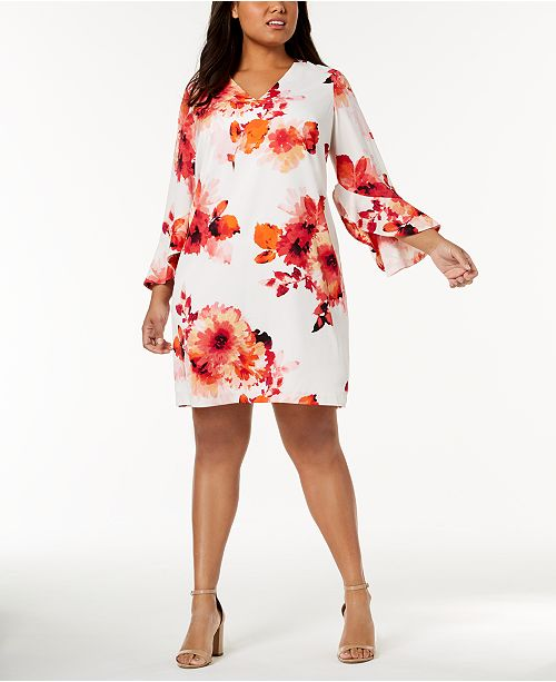 b9ad77dbda0 Calvin Klein Plus Size Floral-Print Bell-Sleeve Dress   Reviews ...