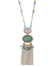 "lonna & lilly Gold-Tone Multi-Stone, Bead & Chain Tassel Pendant Necklace, 32"" + 3"" extender"