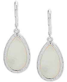 Nine West Silver-Tone Colored Stone Drop Earrings