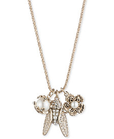 "Marchesa Gold-Tone Crystal & Imitation Pearl Garden Charm Pendant Necklace, 18"" + 3"" extender"
