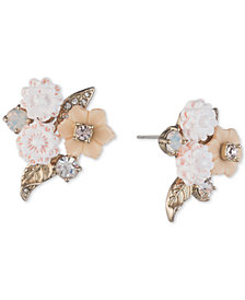 Marchesa Gold-Tone Crystal Flower Button Stud Earrings