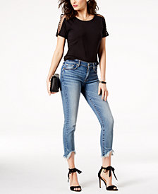 7 For All Mankind Roxanne Wave-Hem Ankle Skinny Jeans