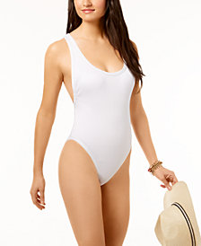 Bar III Textured High-Cut Cheeky One-Piece High-Leg Swimsuit, Created for Macy's