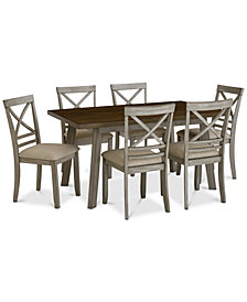 Fairhaven Dining Furniture, 7-Pc. Set (Table & 6 Upholstered Side Chairs), Created for Macy's