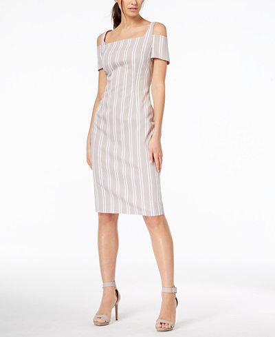 Calvin Klein Cotton Striped Cold-Shoulder Dress