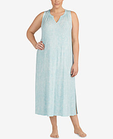 Lauren Ralph Lauren Plus Size V-neckline Printed Nightgown
