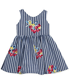 Rare Editions Striped Embroidered Dress, Toddler Girls